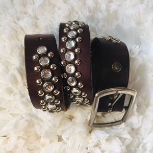 Accessories - Brown Leather Belt with Rhinestones & Silver Studs